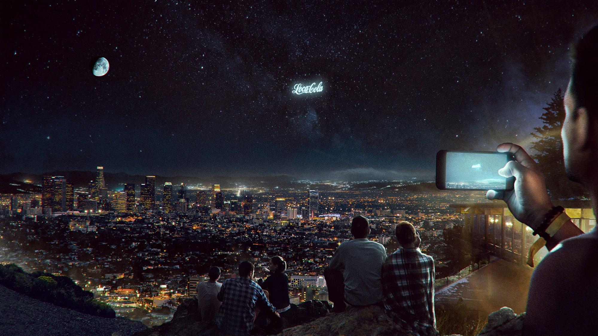Space billboards, like something from Futurama